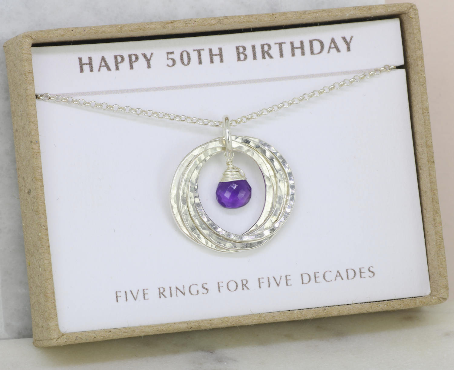 50th birthday gift for her amethyst