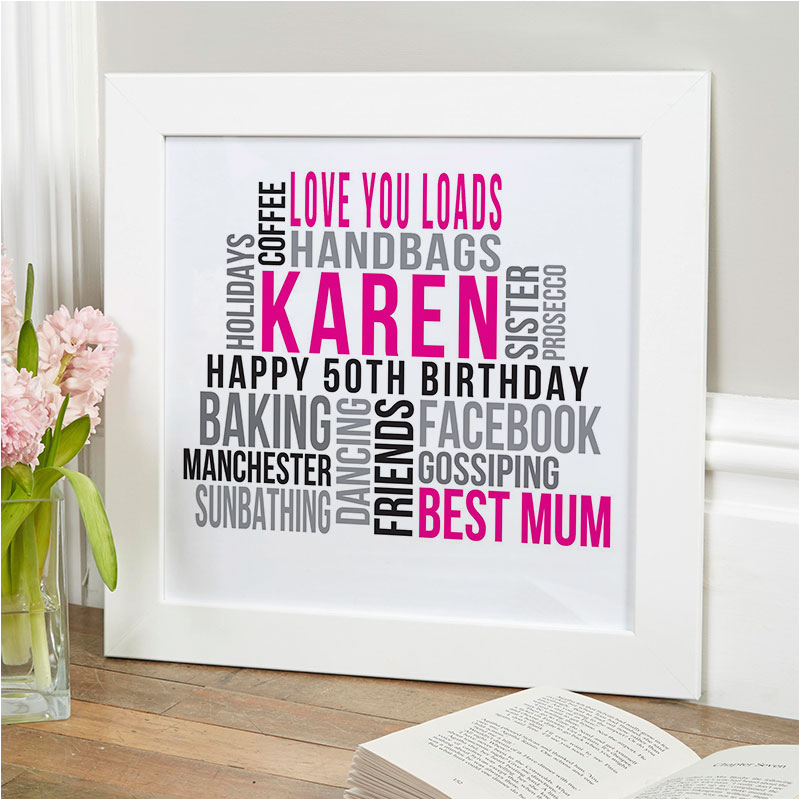 personalized 50th birthday likes print for her