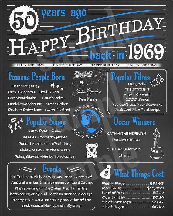 50th Birthday Gifts for Him Australia 1969 Australian Chalkboard Poster Digital Instant Download