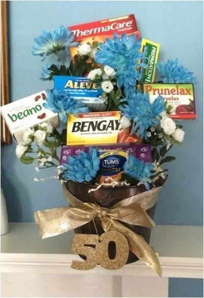 gifts for 50th birthday man old age remedies tucked into a flower arrangement is comforting idea see more th gag and party ideas at south af
