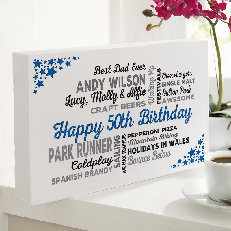 50th birthday gift typographic art print for him