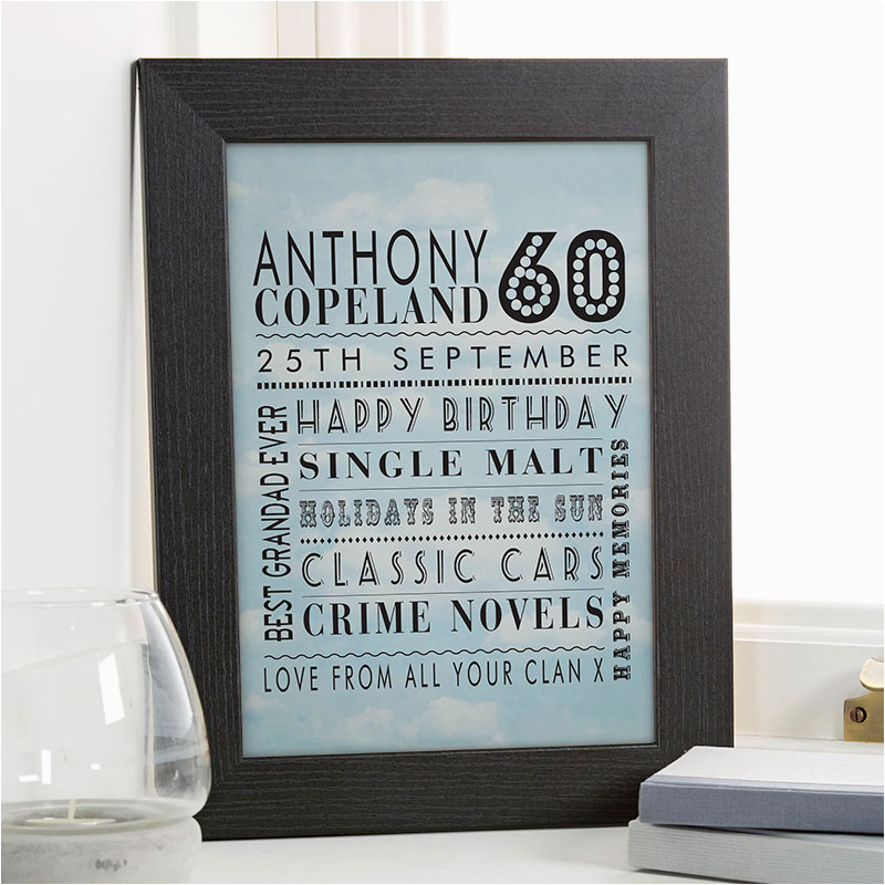 60th birthday gift idea personalised age print for him