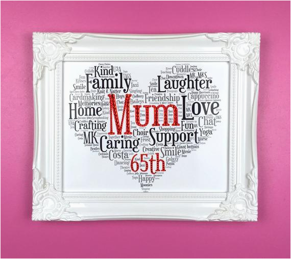 65th birthday personalised word art gift