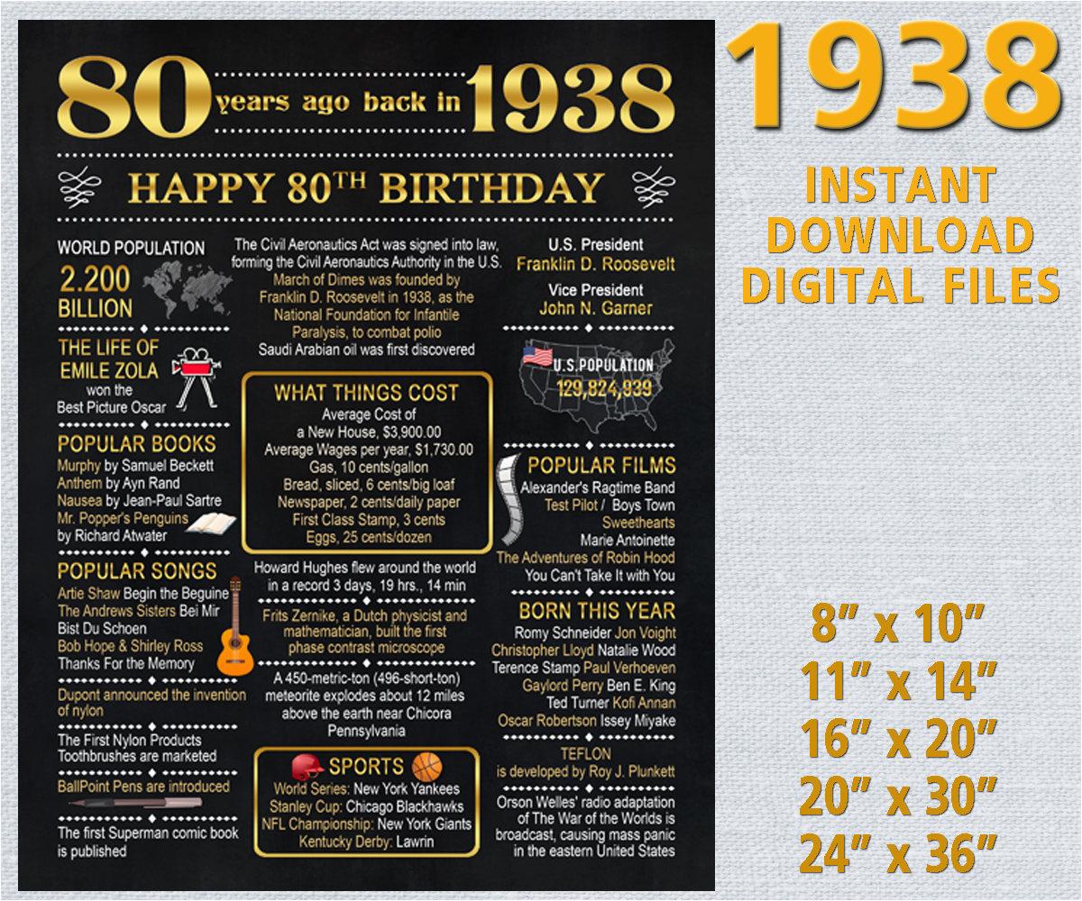 80th birthday chalkboard back in 1938