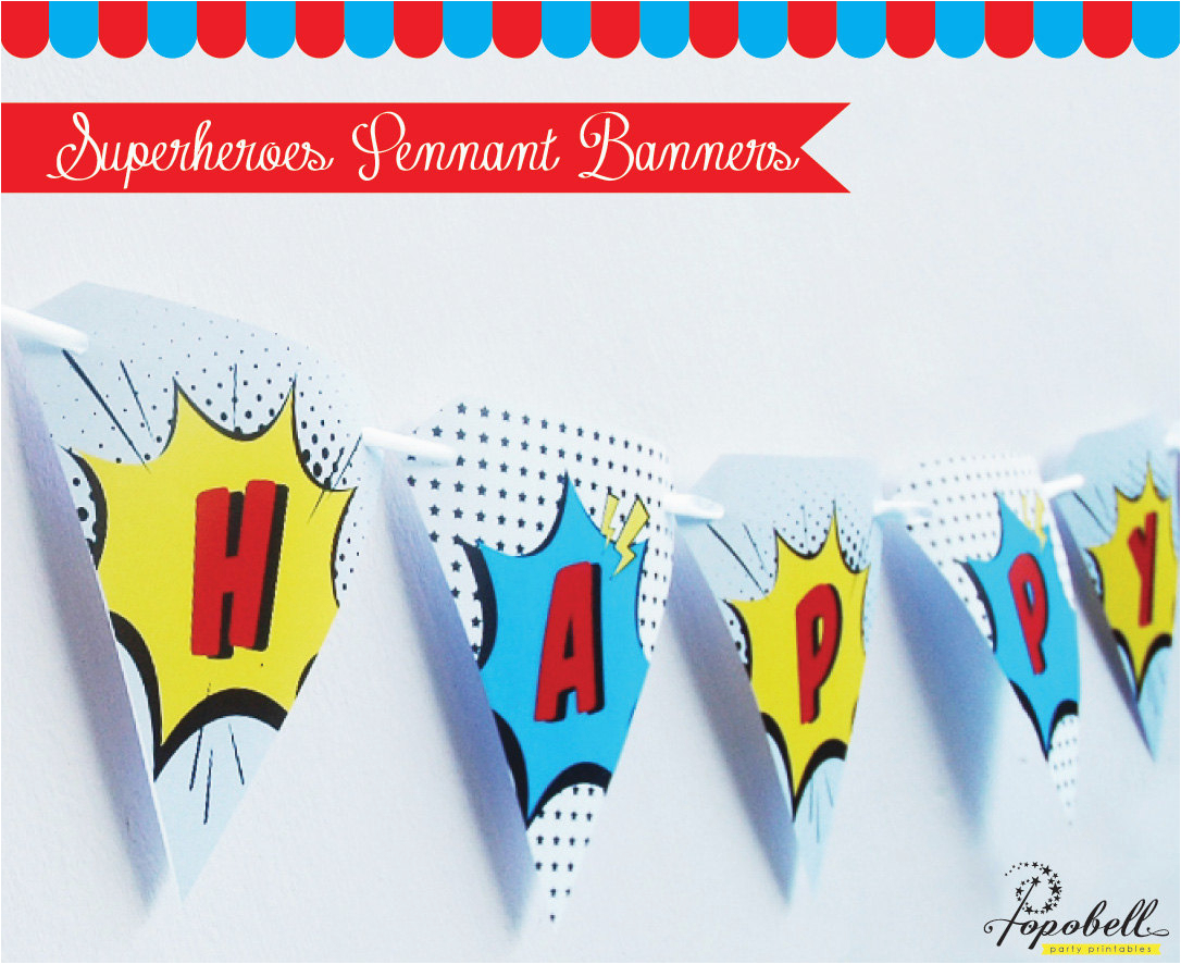 superheroes pennant banners for avengers