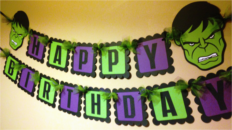 the hulk inspired happy birthday banner