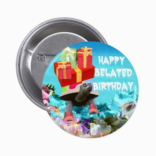 turtle carring gift for belated birthday pinback button 145276813861493096