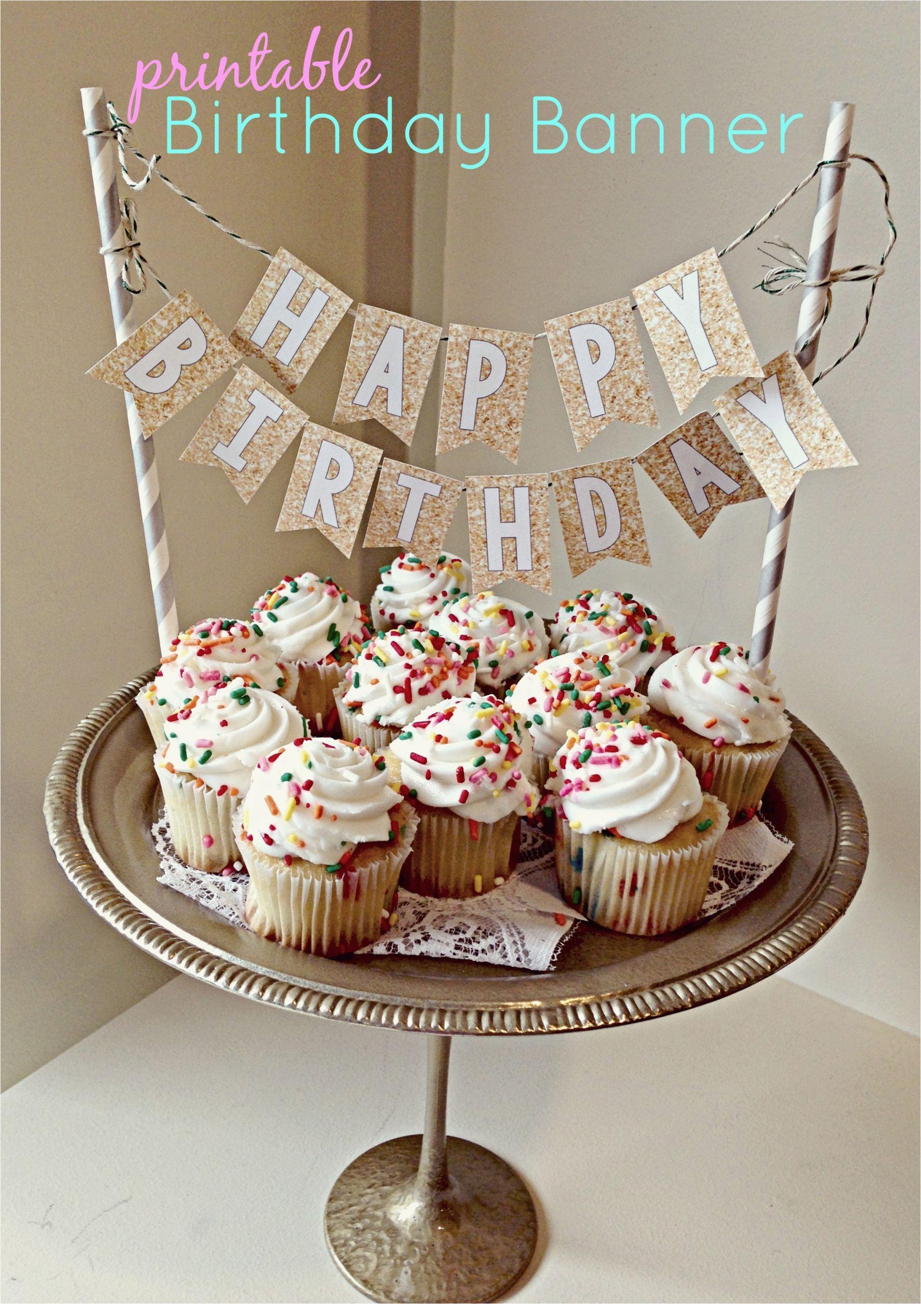 printable birthday banner cake topper