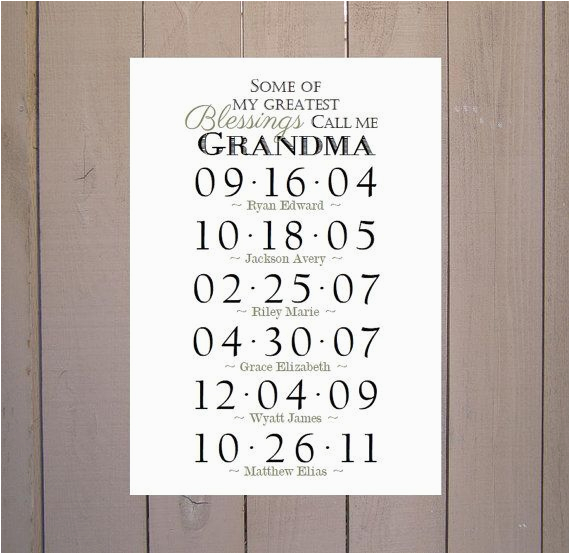 Birthday Gift Ideas for Great Grandma Grandma Gift Grandchildren Birthday Dates by
