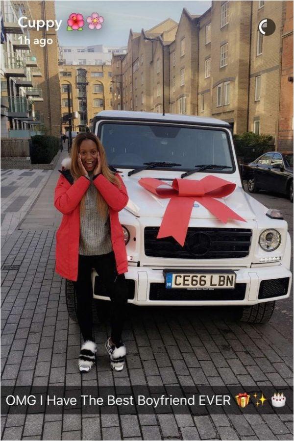 dj cuppy receives brand new g wagon boyfriend birthday