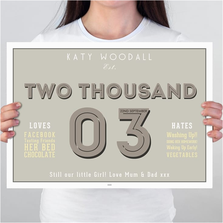 16th birthday gifts loves and hates personalised print
