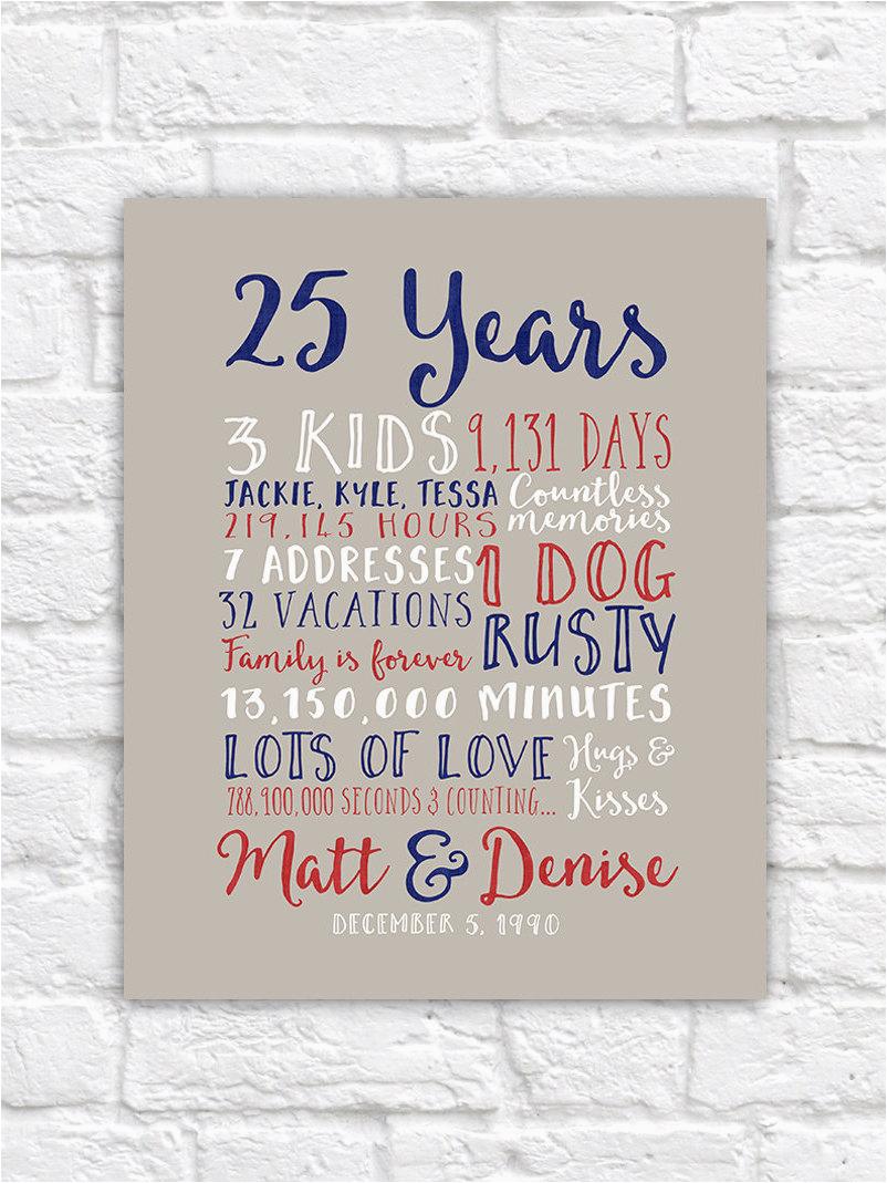 25th wedding anniversary gift paper