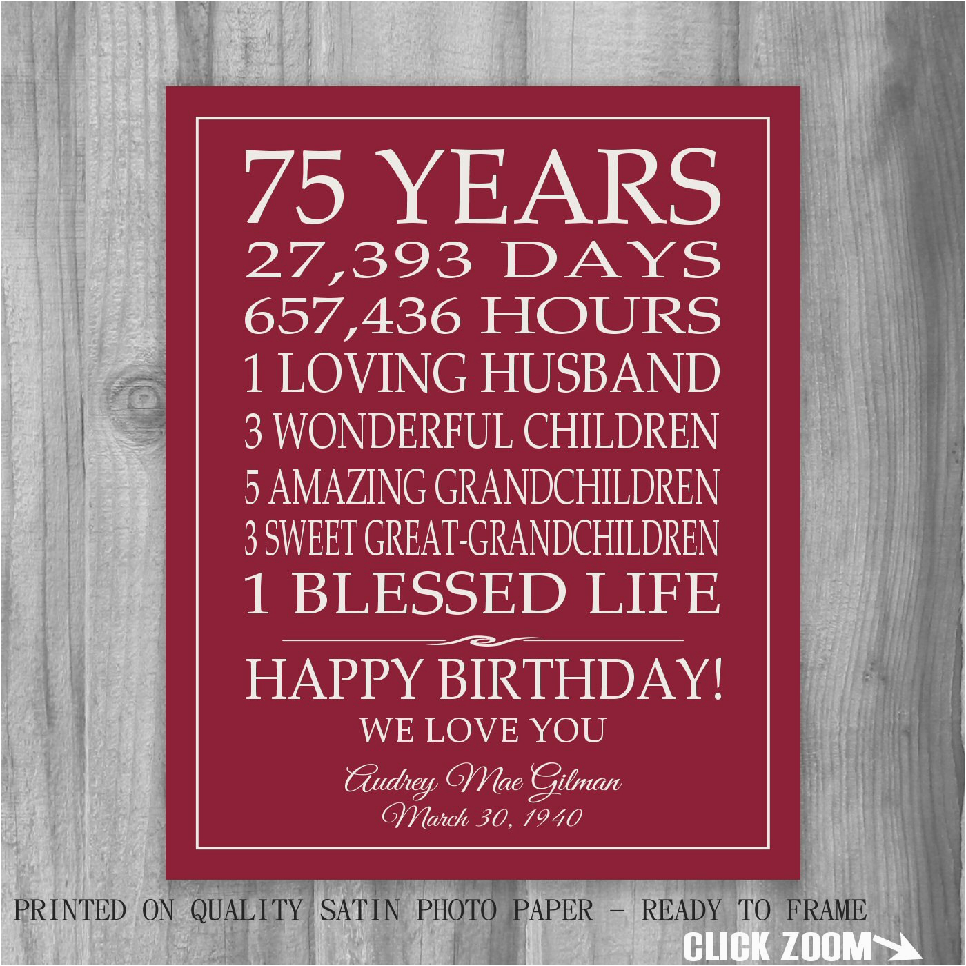 75th birthday gift sign print