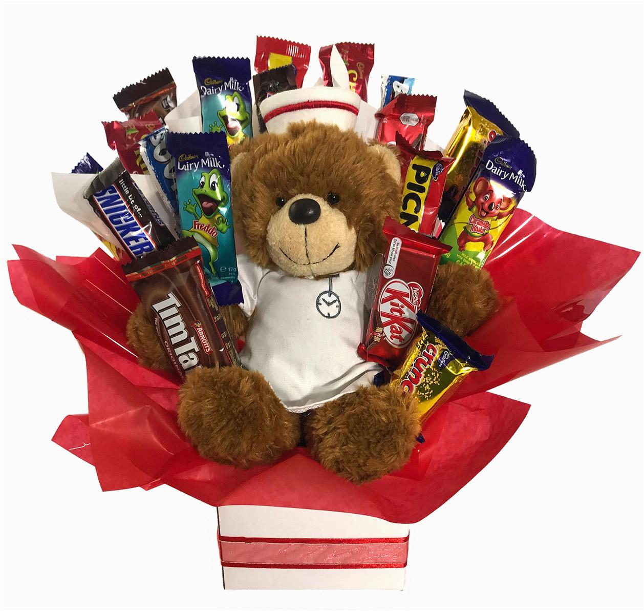 chocolate bouquet get well soon nurse teddy