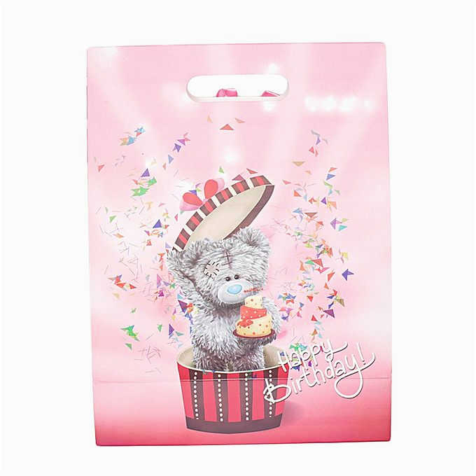 exclusive weddings pink bow paper board birthday gift bag 233484