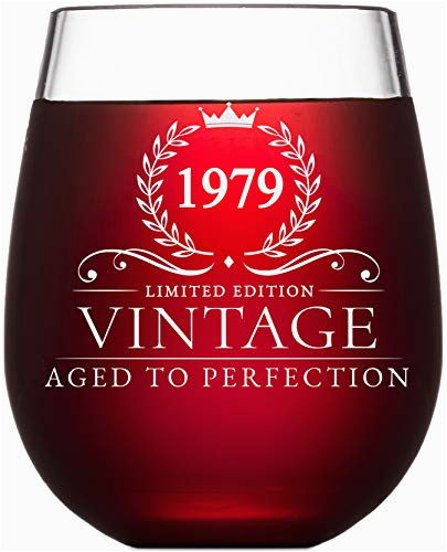 40th birthday gifts for women and men turning 40 years old 15 oz vintage 1979 wine glass funny fortieth gift ideas party decorations and supplies for him or her husband wife mom dad
