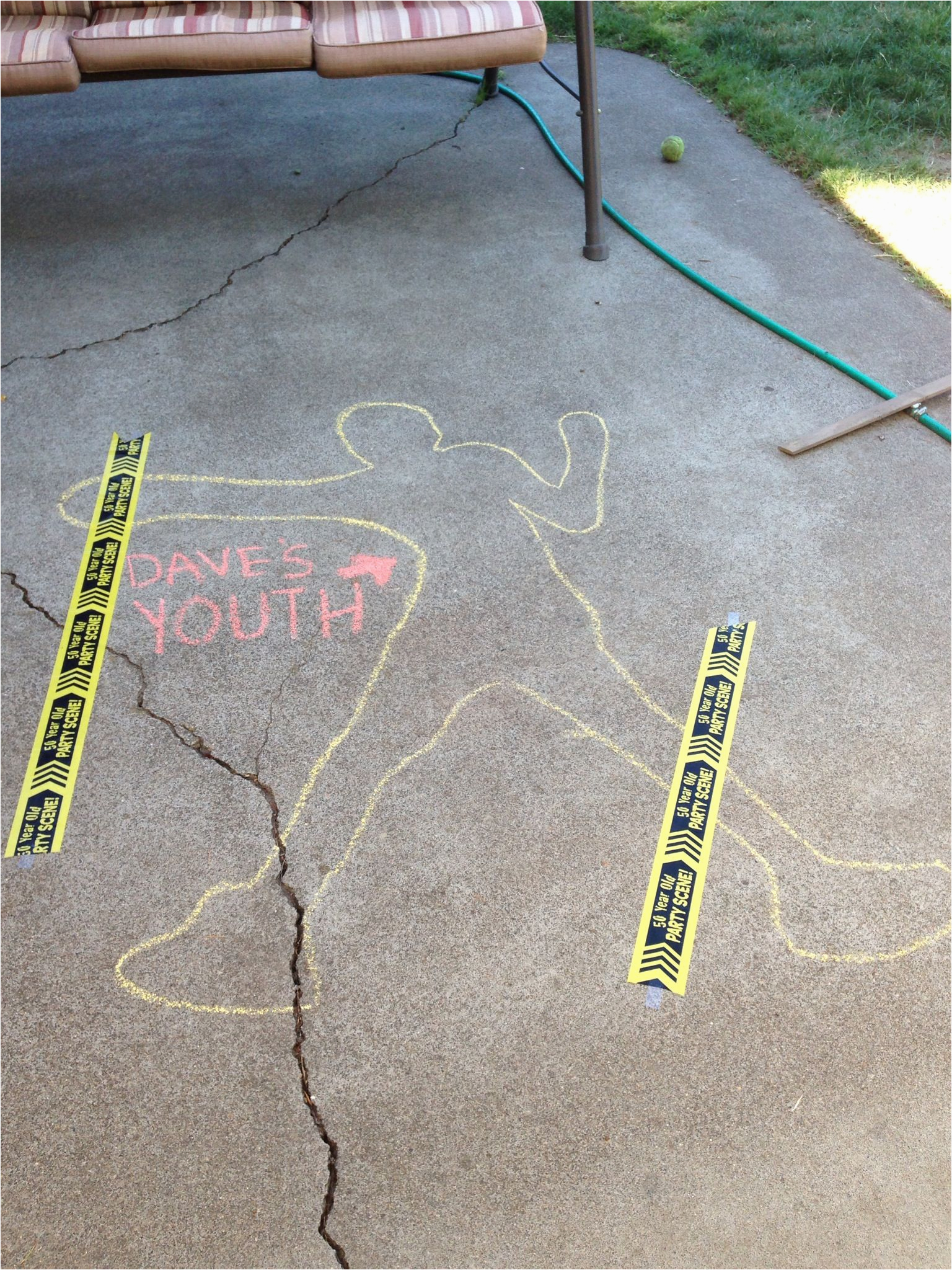 Birthday Ideas for Boyfriend Turning 50 Chalk Outline Of My Husband 39 S Youth for His 50th Surprise