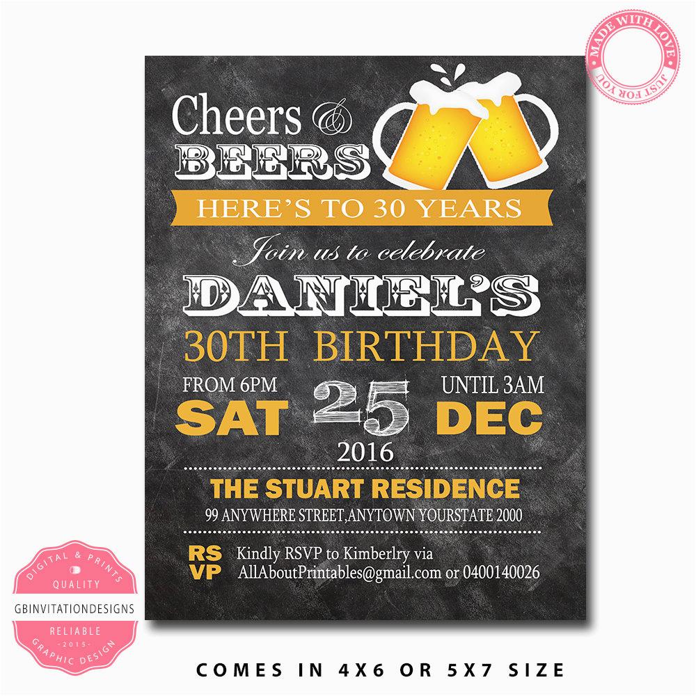 40th birthday invitation for men 30th