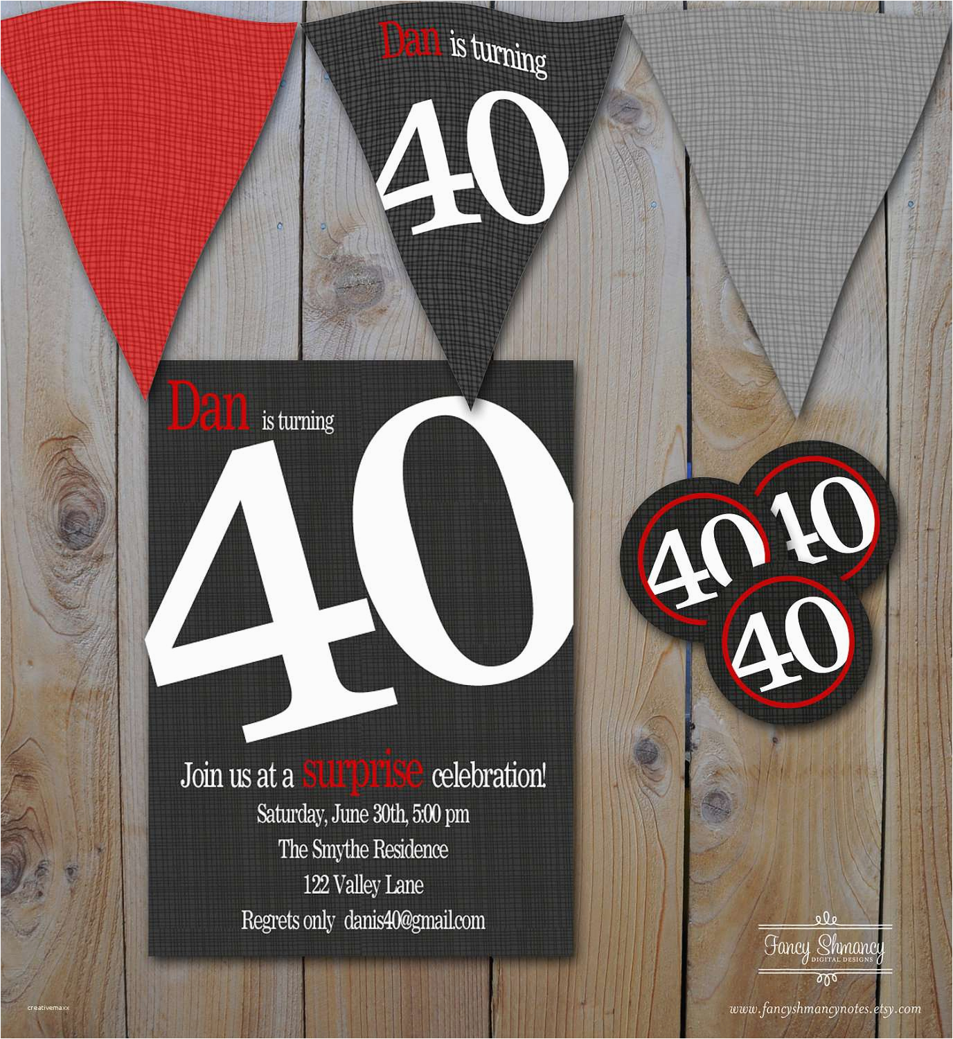 40th birthday party invitations for him