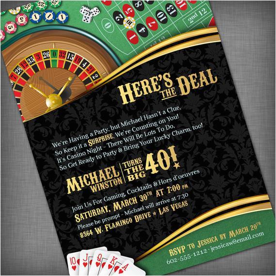casino theme invitation for birthday