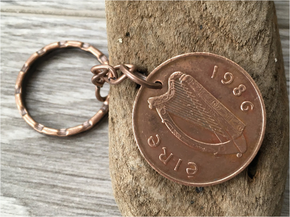 1985 1986 irish coin keychain keyring
