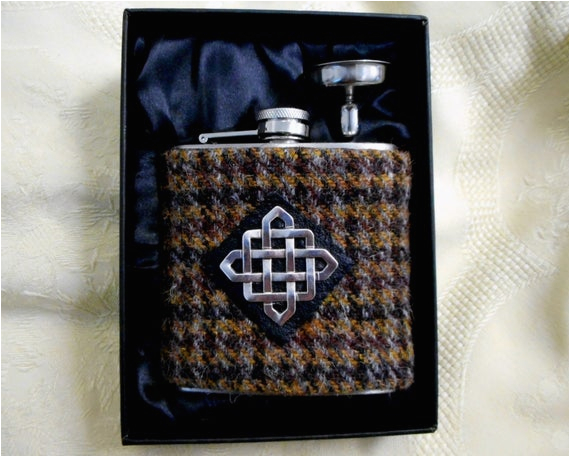 Birthday Ideas for Him Scotland Harris Tweed Hip Flask Mens Gift Scottish Made In Scotland
