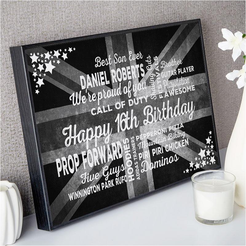 16th birthday gift typographic art print for boys