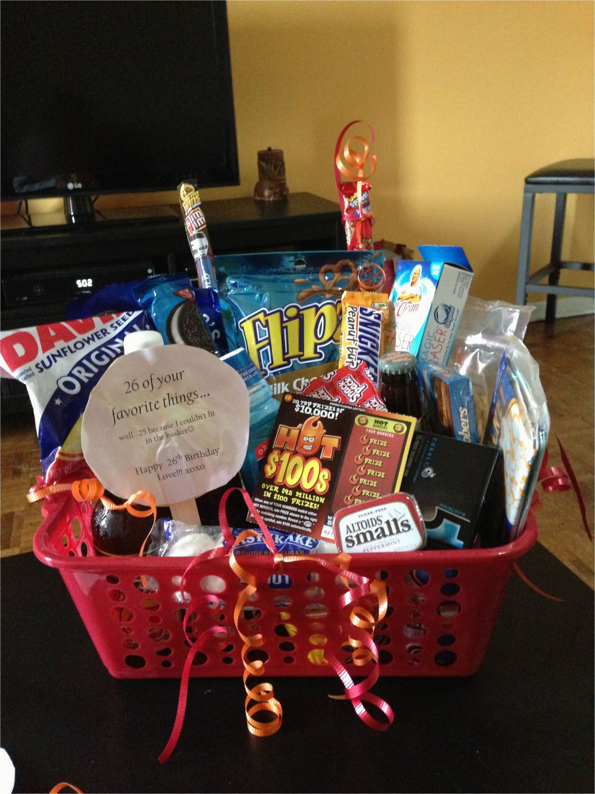 Birthday Presents for Boyfriend 20th Boyfriend Birthday Basket 26 Of His Favorite Things for