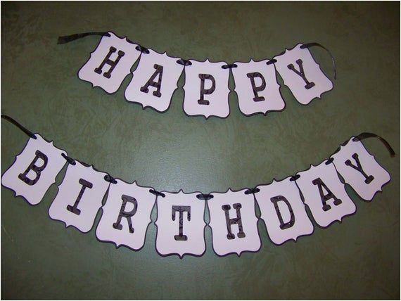 Black and White Striped Happy Birthday Banner Happy Birthday Banner Black and White