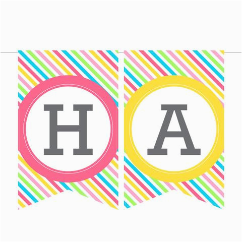 printable birthday banner in stripes instant download