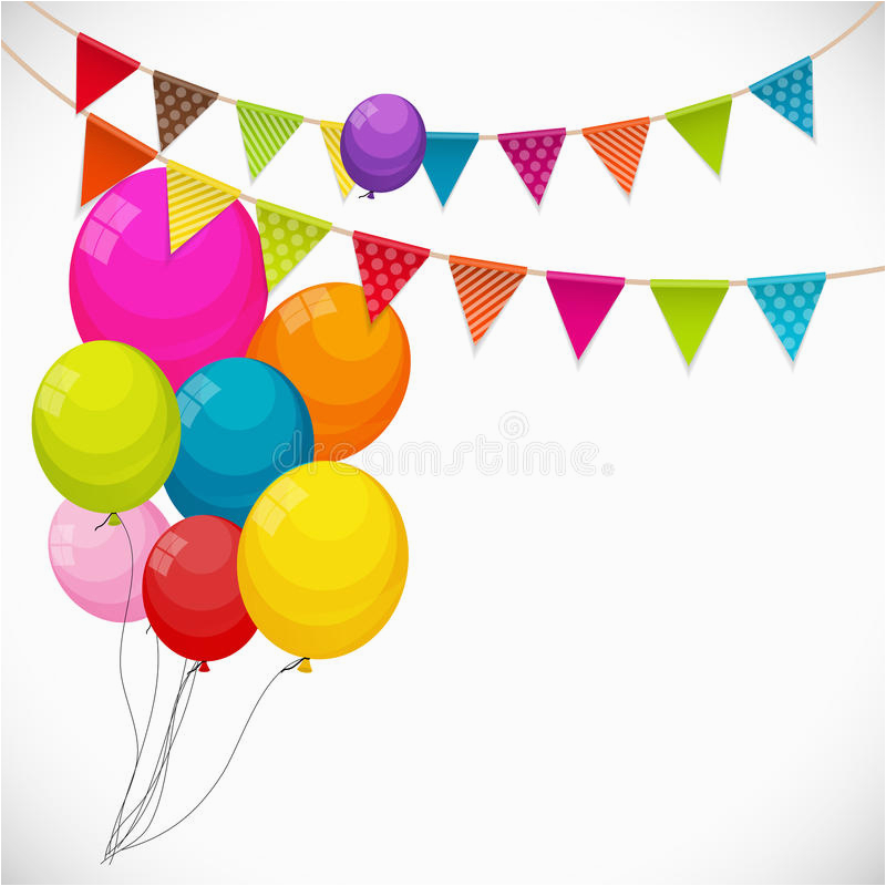 stock illustration color glossy happy birthday balloons banner background part party flag garland vector illustration eps r image74861446