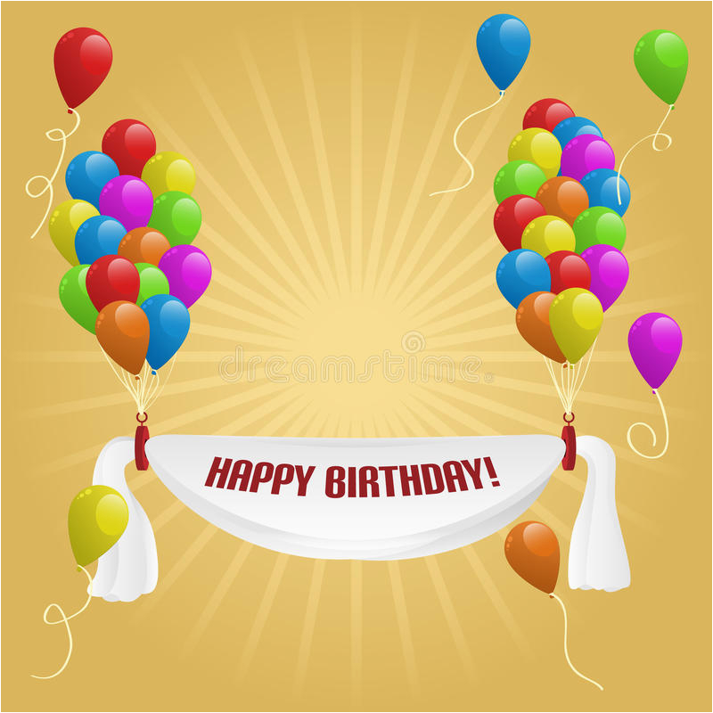stock image happy birthday banner balloons image18772221