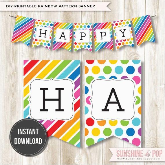 instant download rainbow happy birthday