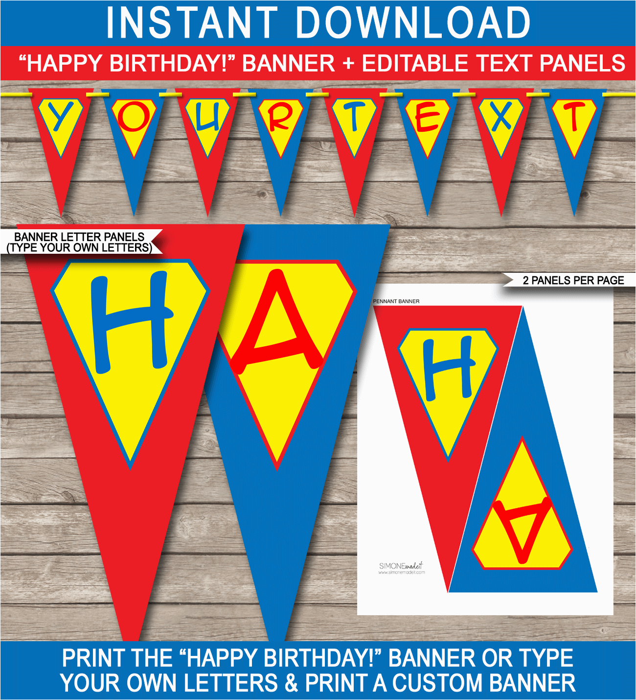 superhero party banner template