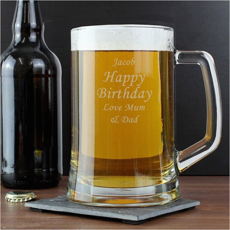 50th birthday personalised glass tankard