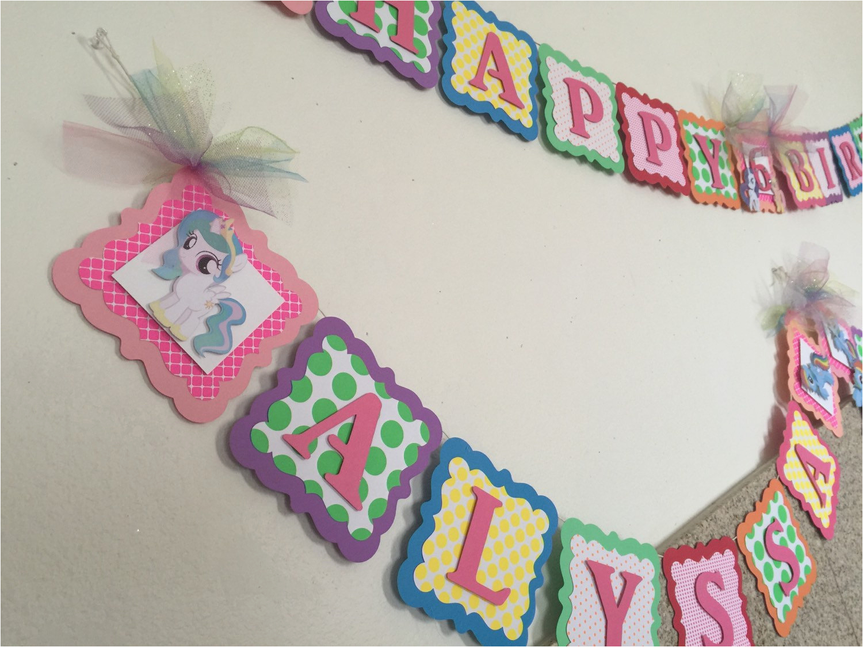 Free My Little Pony Happy Birthday Banner Kitchen Dining