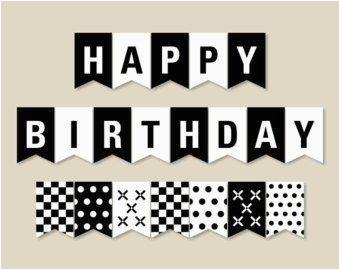 happy birthday black and white banner