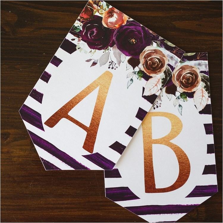 birthday banner printable purple floral