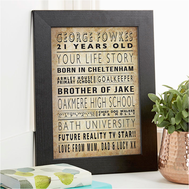 21st birthday gift personalised life story for him