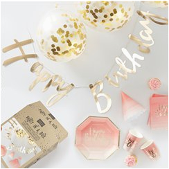 Ginger Ray Rose Gold Happy Birthday Banner Pick Mix Party Supplies Delights Direct