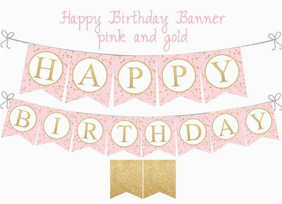 pink and gold happy birthday banner pink