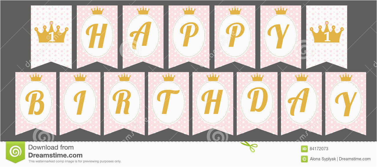 stock illustration cute pennant banner as flags letters happy birthday princess style printable template baby pattern pink gold design image84172073