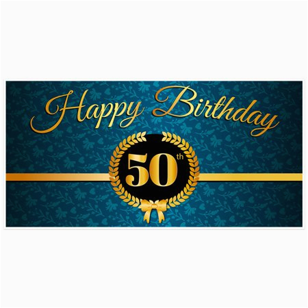 Gold Happy Birthday Banner Walmart Teal and Gold 50th Birthday Banner Walmart Com