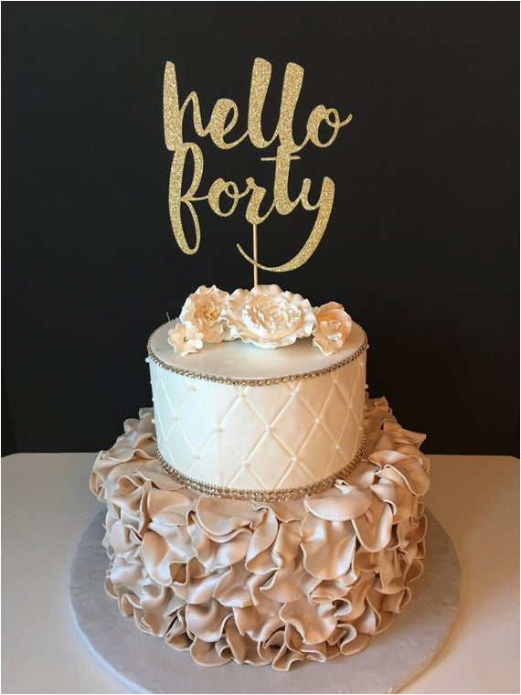 any number gold glitter hello forty cake