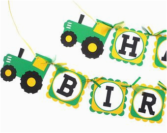 Green and Yellow Happy Birthday Banner Green and Yellow Tractor Farm Party theme Happy Birthday