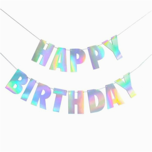 unicorns holographic shimmer glitter sparkle shiny iridescent rainbow change color birthday party banner letters