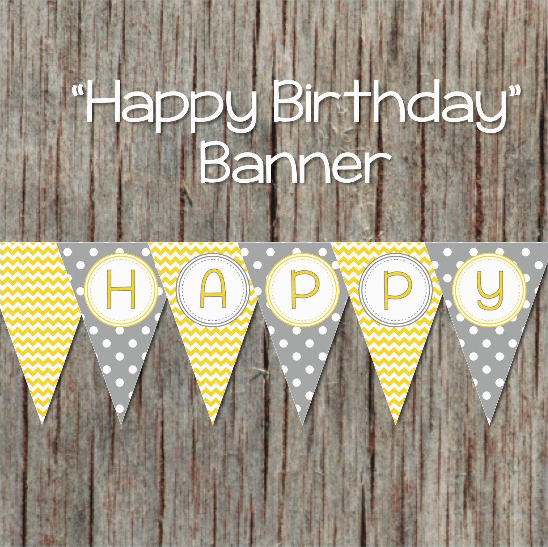 yellow grey printable happy birthday banner digital party decorations 043