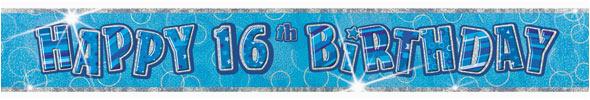 happy 16th birthday glitz blue 12ft prism banner party tableware
