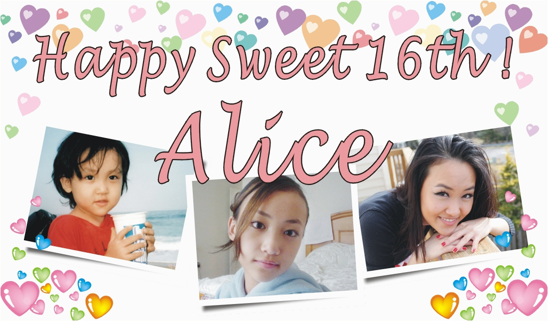 3ftx5ft custom personalized happy sweet 16th birthday banner with your photos p 1616