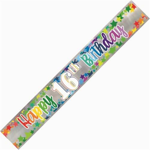 banner happy 16th birthday foil stars